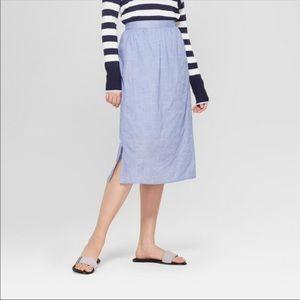 A New Day Chambray Midi Skirt Large